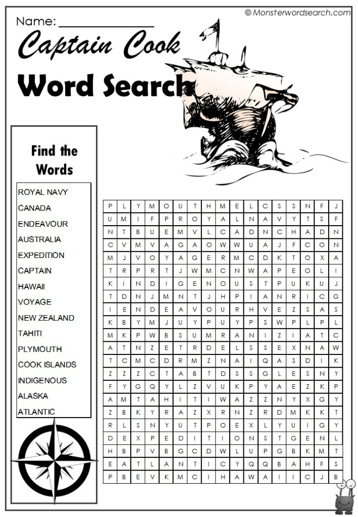 Captain Cook Word Search