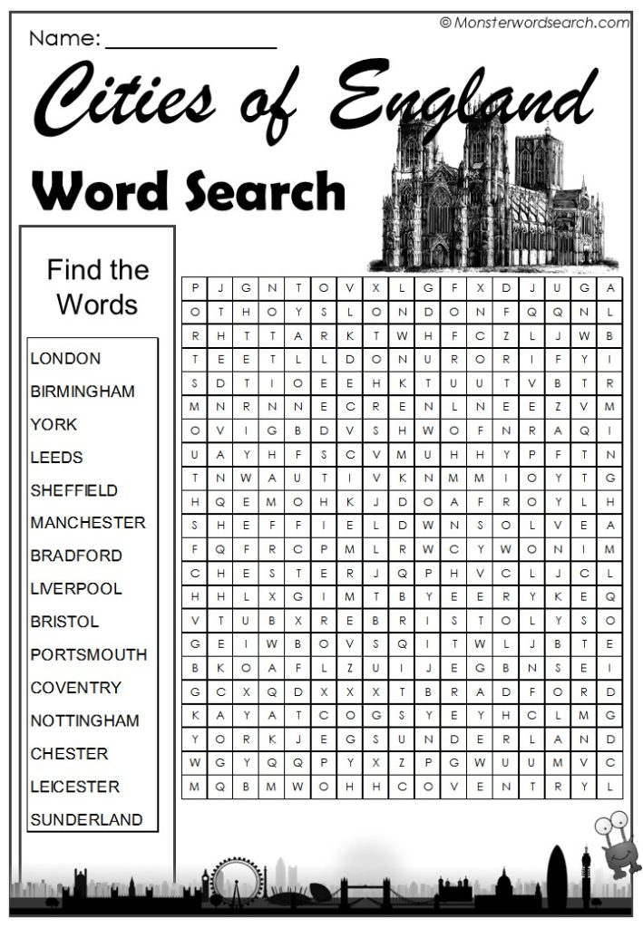 cities of england word search