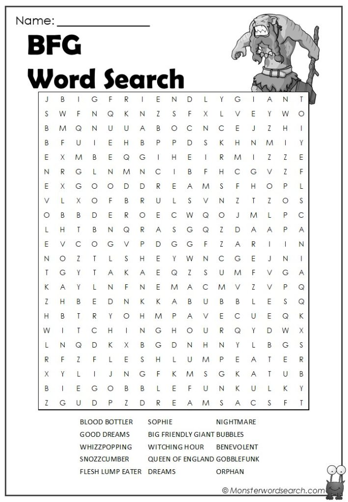 Bfg Word Search Monster Word Search