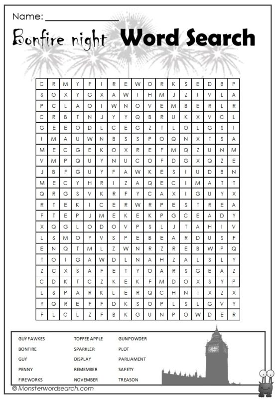 Bonfire Night Word Search
