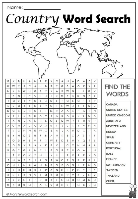 Country Word Search