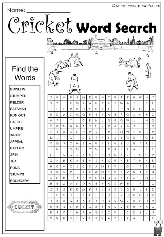 Cricket Word Search