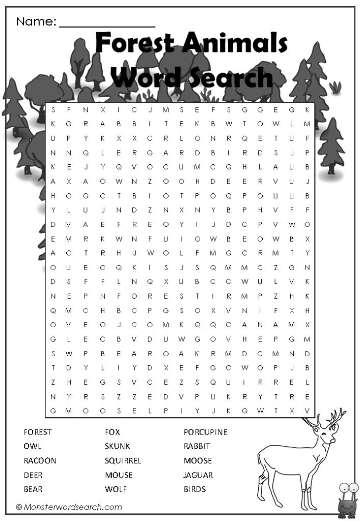 Forest Animals Word Search