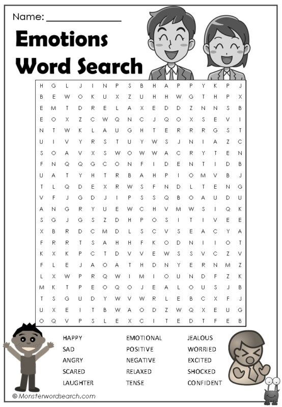 Emotions Word Search