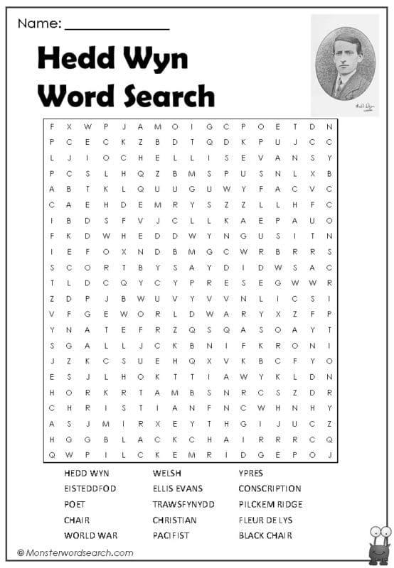 Hedd Wyn Word Search