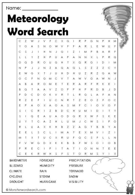 Meteorology Word Search