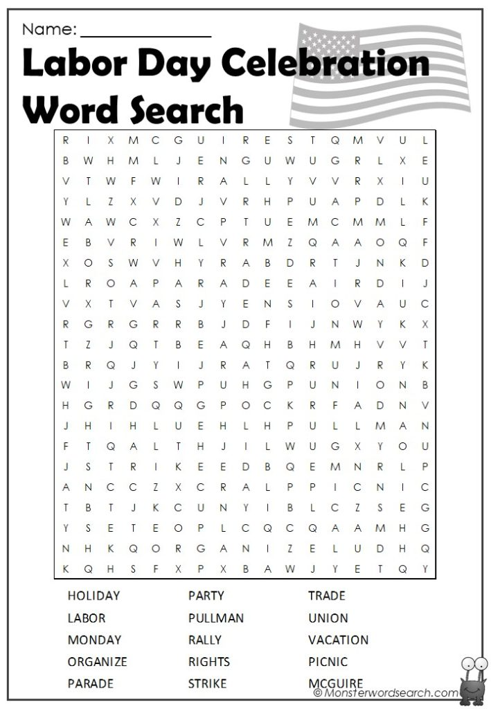 photograph relating to Groundhog Day Word Search Printable known as Labor Working day Phrase Look- Monster Phrase Glimpse