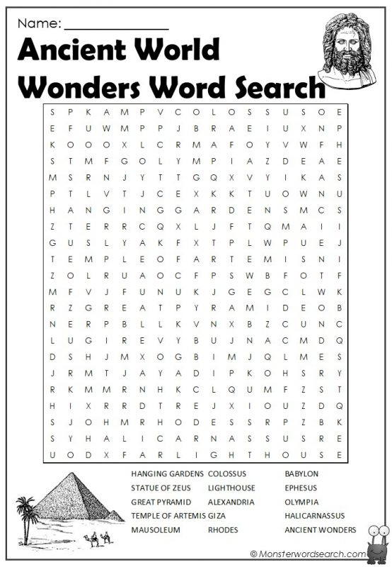 Ancient World Wonders Word Search