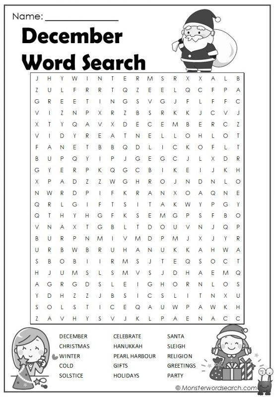 December Word Search