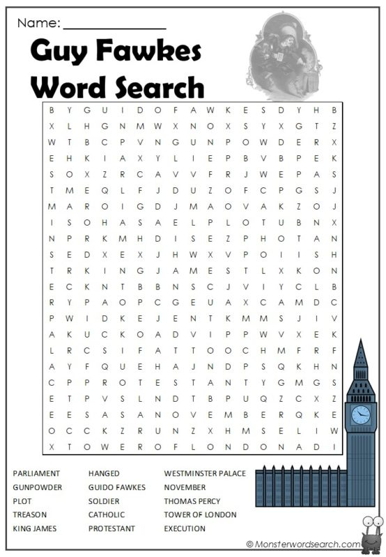 Guy Fawkes Word Search