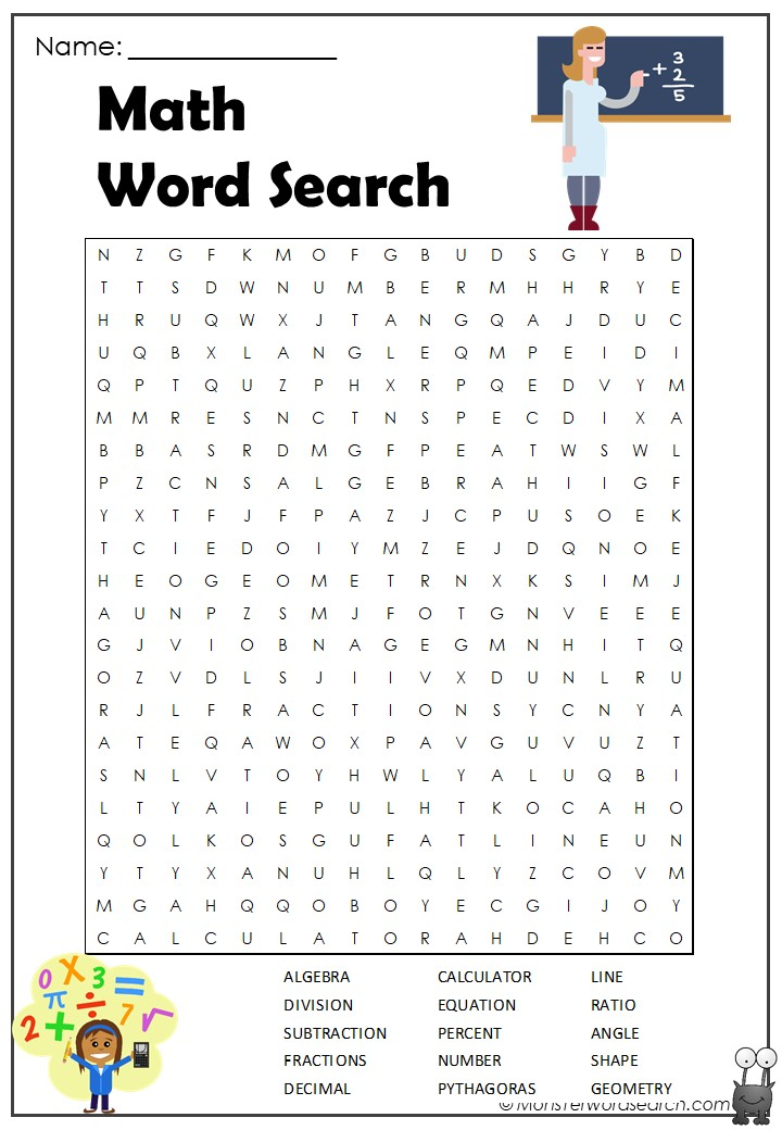 image relating to Math Word Search Printable called Math Phrase Look- Monster Phrase Glance