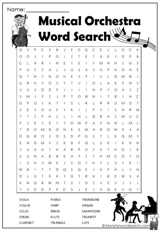 Musical Orchestra Word Search
