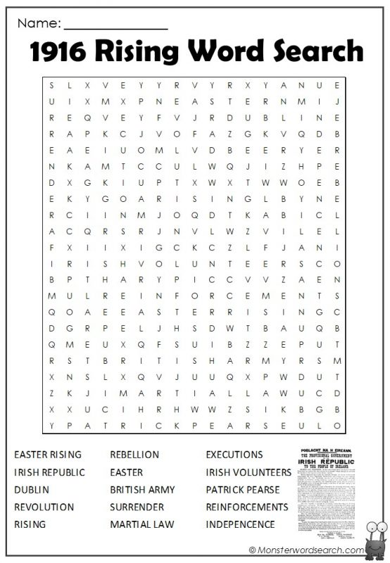 1916 Rising Word Search