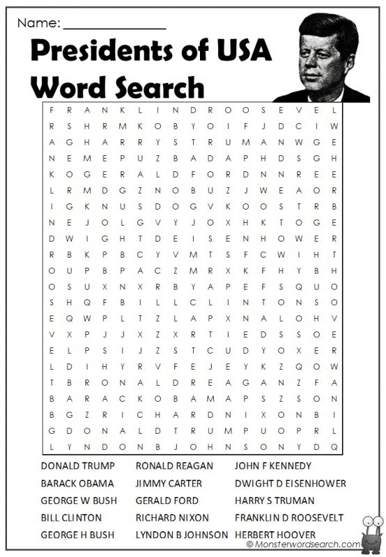 Presidents of USA Word Search