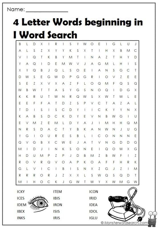 4 Letter Words beginning in I Word Search
