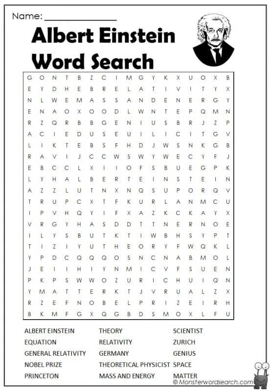 Albert Einstein Word Search