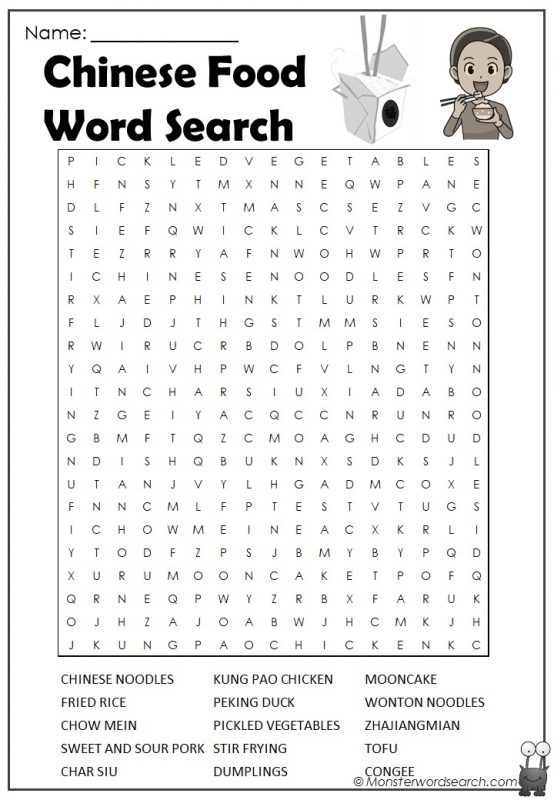 Chinese food Word Search