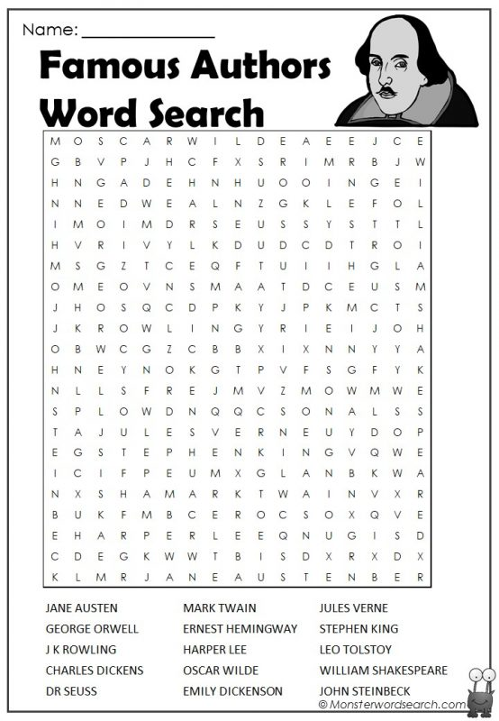 Famous Authors Word Search