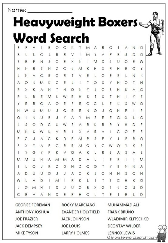 Heavyweight Boxers Word Search
