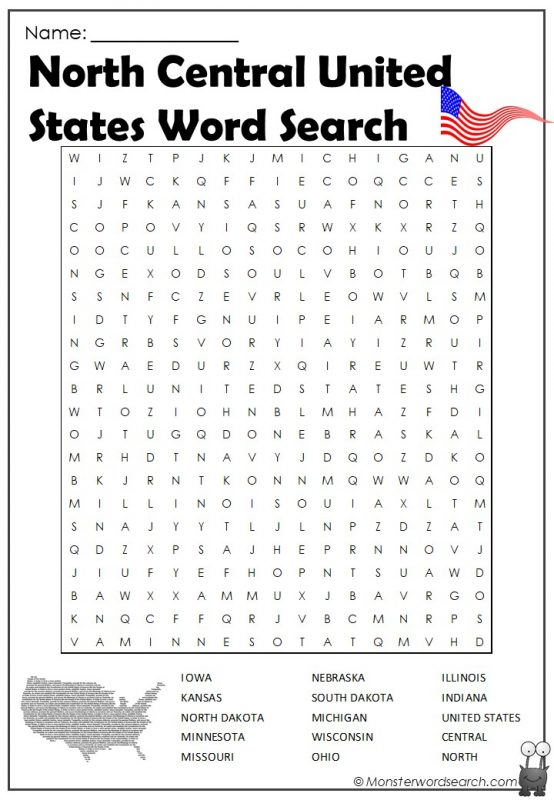 North Central United States Word Search