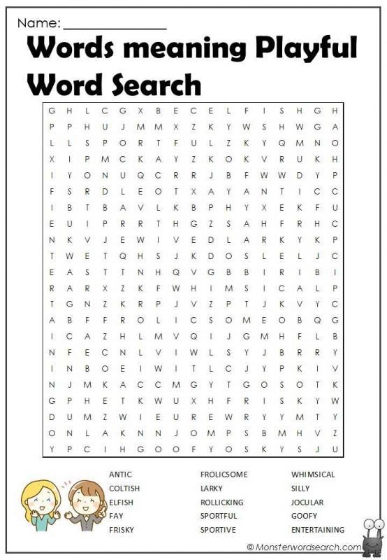 Words meaning Playful Word Search