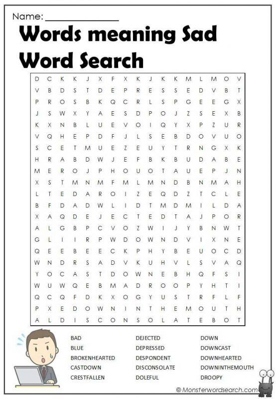 Words meaning Sad Word Search