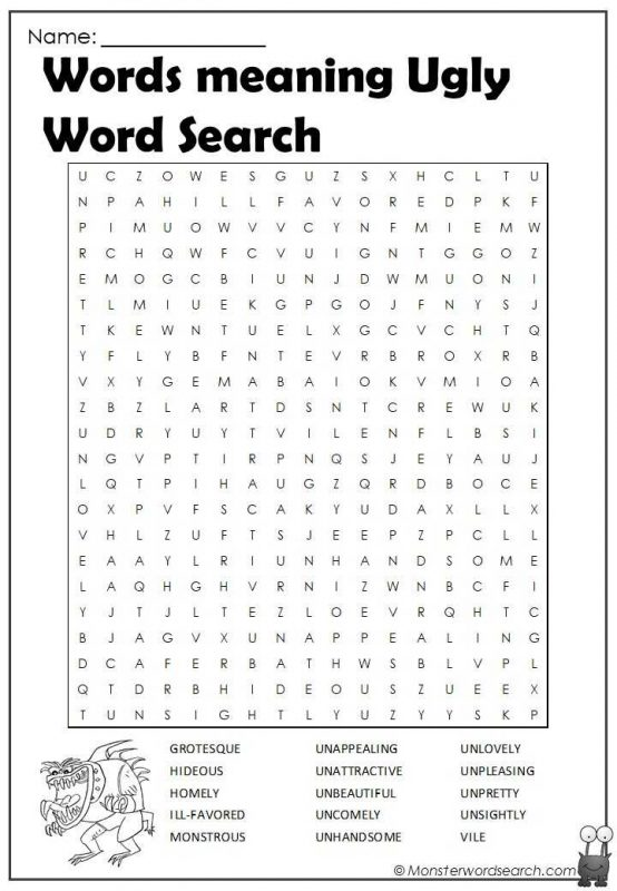 Words meaning Ugly Word Search