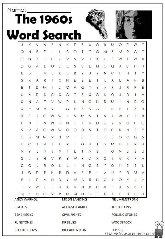 The 1960s Word Search