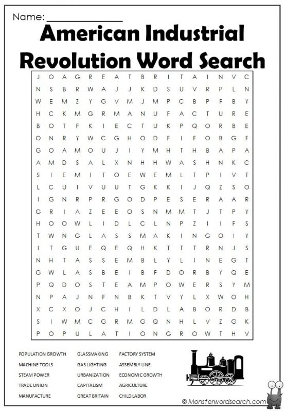 American Industrial Revolution Word Search