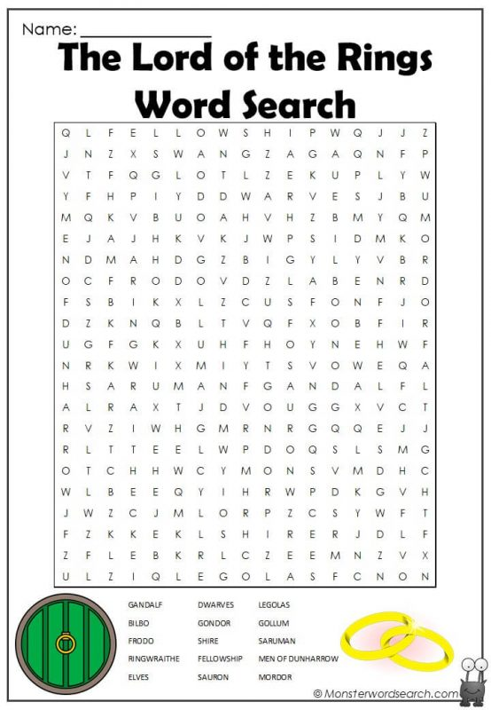 The Lord of the Rings Word Search