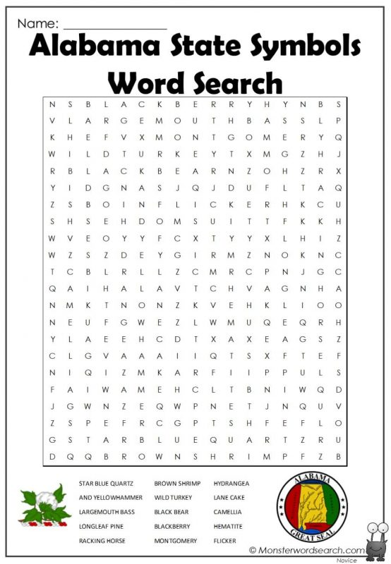 Alabama State Symbols Word Search