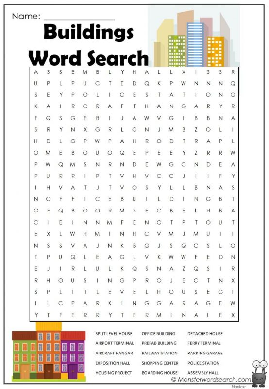 Buildings Word Search