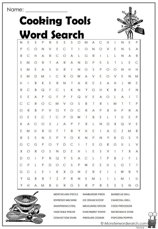 Cooking Tools Word Search