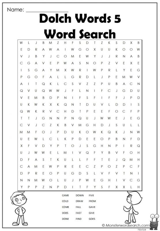 Dolch Words 5 Word Search