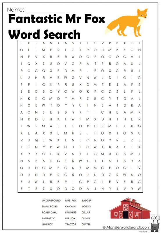 Fantastic Mr Fox Word Search