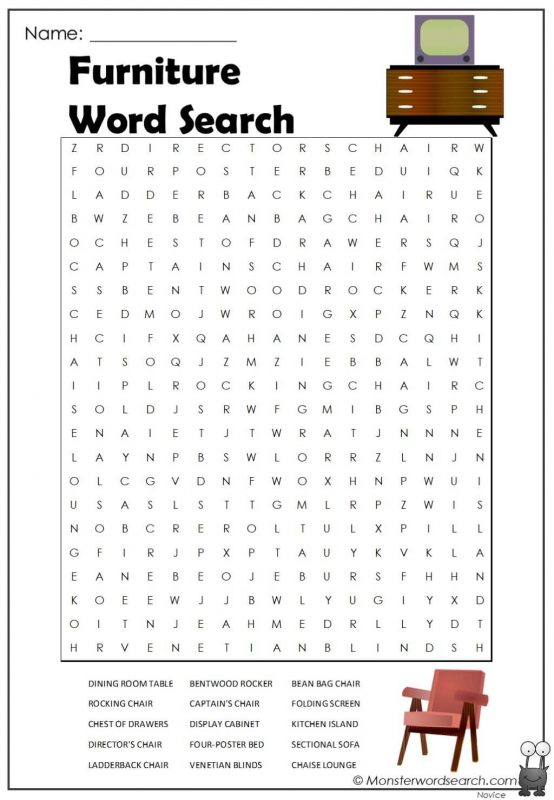 Furniture Word Search