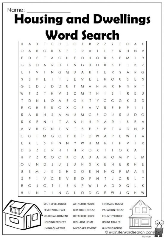 Housing and Dwellings Word Search