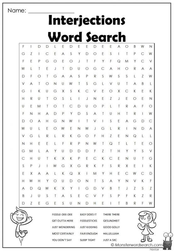 Interjections Word Search