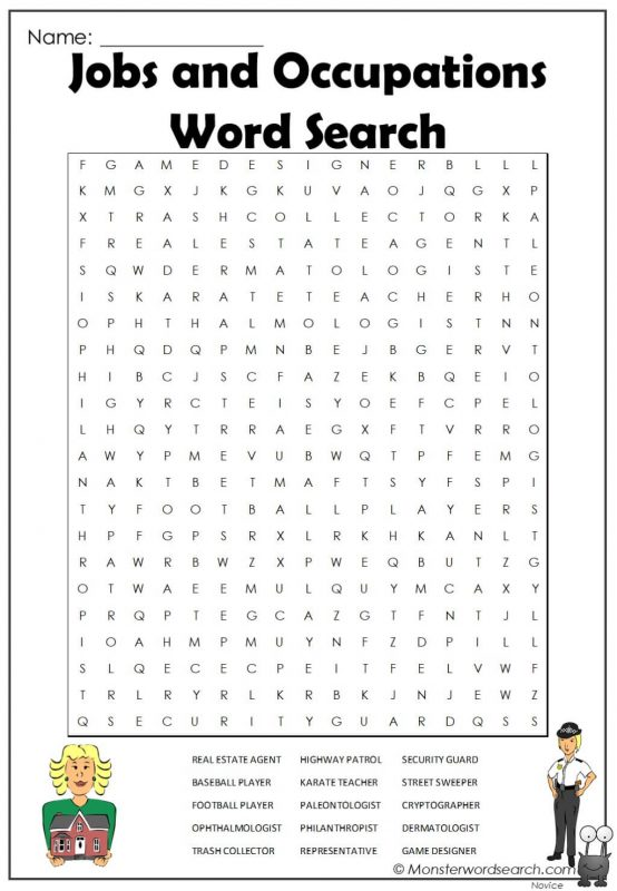 Jobs and Occupations Word Search