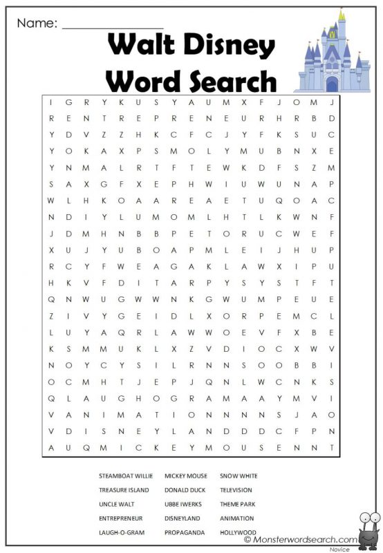 Walt Disney Word Search