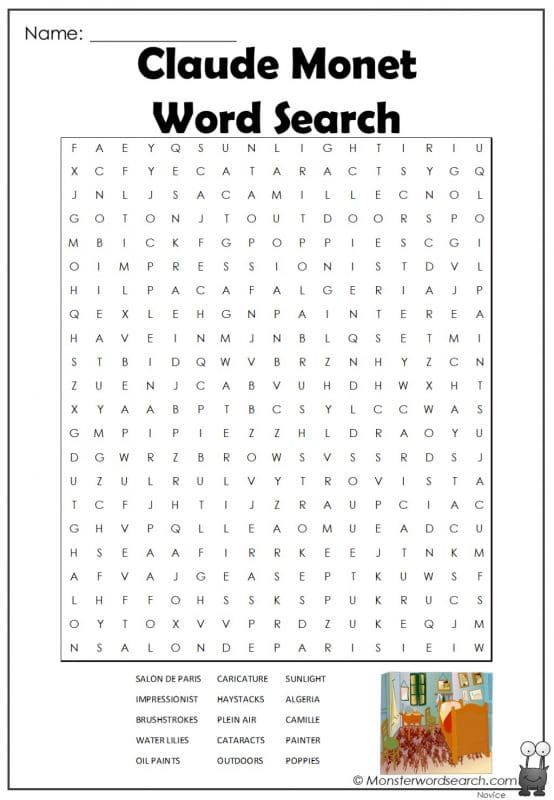 Claude Monet Word Search