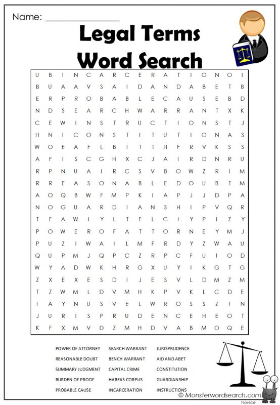 Legal Terms Word Search