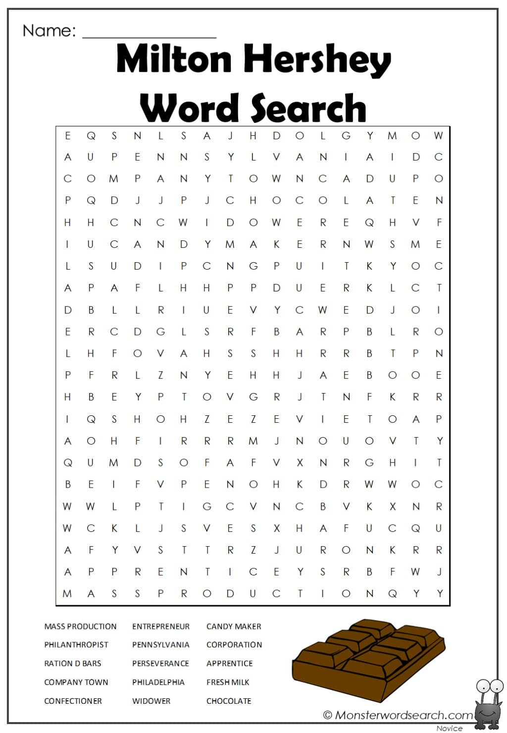 Milton Hershey Word Search Monster Word Search