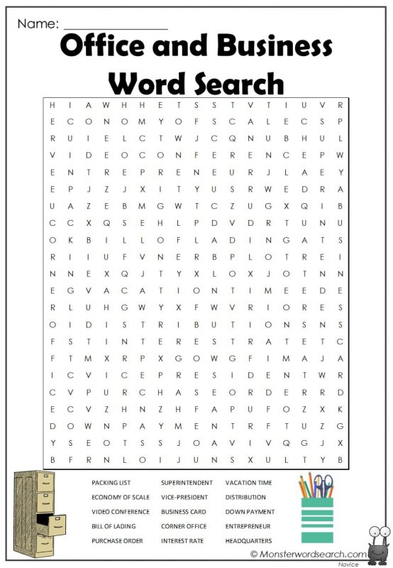 Office and Business Word Search