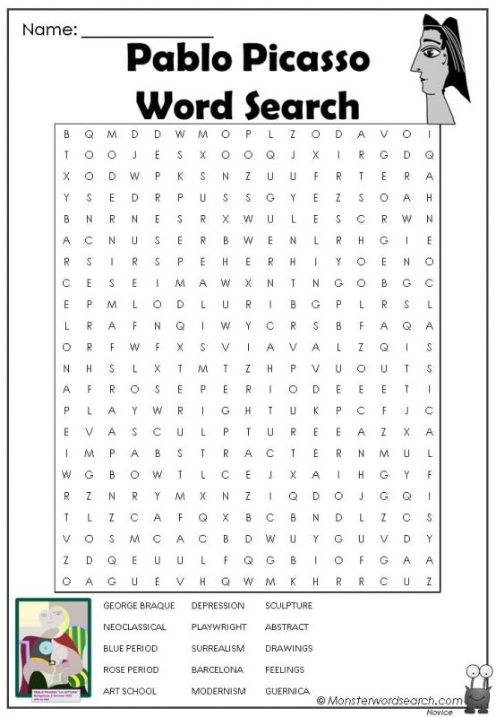 Pablo Picasso Word Search