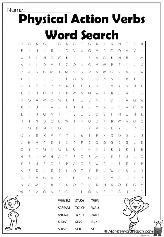Physical Action Verbs Word Search