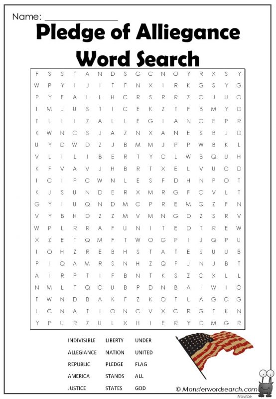 Pledge of Alliegance Word Search
