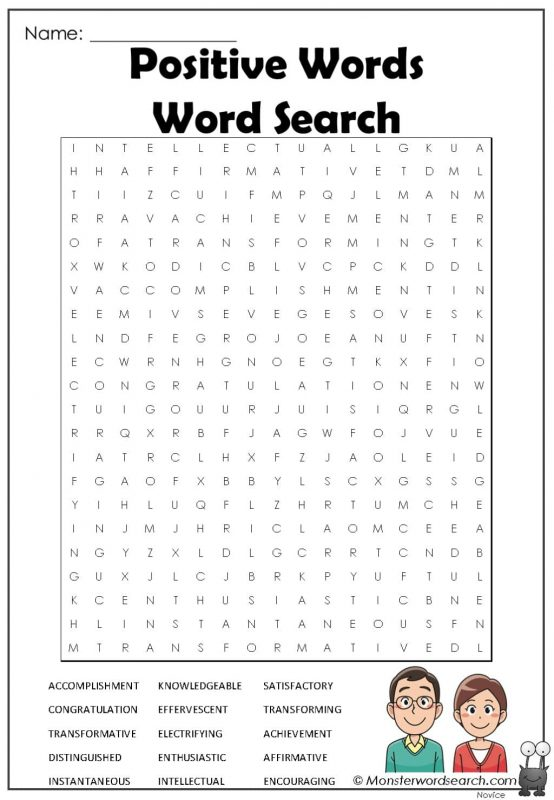 Positive Words Word Search