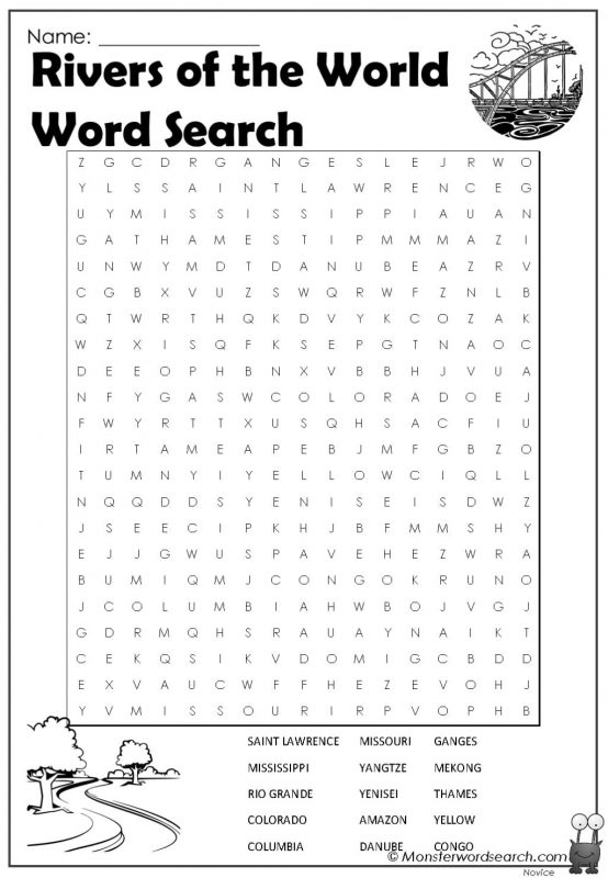 Rivers of the World Word Search