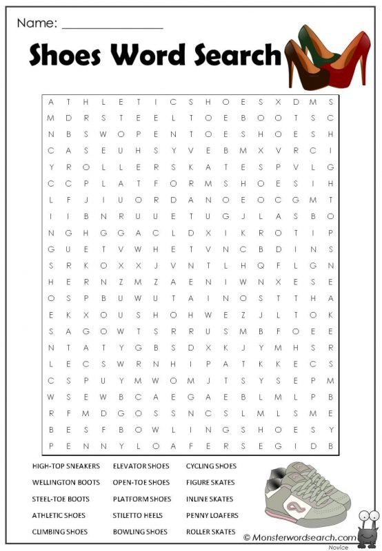 Shoes Word Search